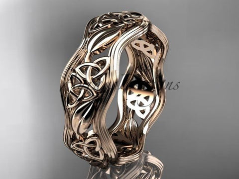 14kt rose gold celtic trinity knot wedding band, engagement ring CT7504G - Vinsiena Designs