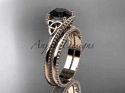 14k rose gold celtic trinity knot  engagement set enhanced Black Diamond CT7322S - Vinsiena Designs