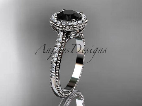 14kt white gold diamond floral engagement ring Black Diamond ADLR101 - Vinsiena Designs