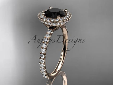 14k rose gold diamond unique engagement ring  Black Diamond ADER106 - Vinsiena Designs