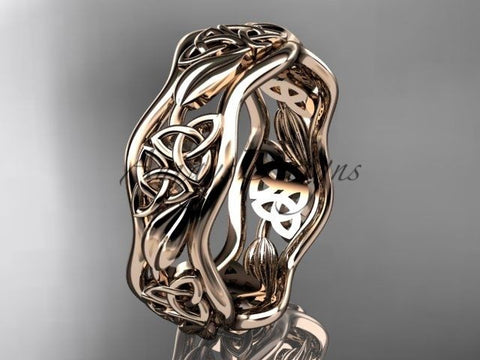 14kt rose gold celtic trinity knot wedding band, engagement ring CT7506G - Vinsiena Designs