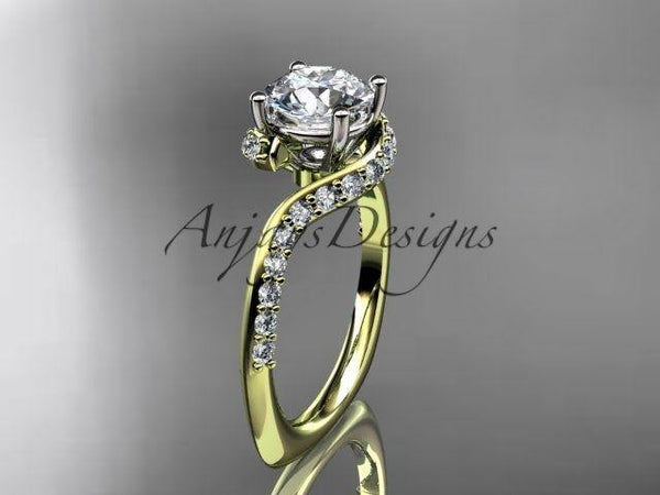 "14k yellow gold engagement ring, wedding ring ""Forever One"" Moissanite ADLR277 - Vinsiena Designs"