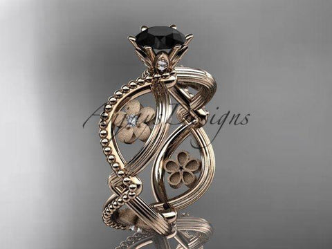 14k rose gold diamond floral  engagement ring Black Diamond ADLR192