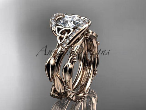 14kt rose gold celtic trinity knot engagement set, wedding ring CT764S - Vinsiena Designs