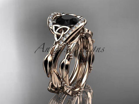 14K rose gold celtic trinity knot engagement set, Black Diamond CT764S - Vinsiena Designs