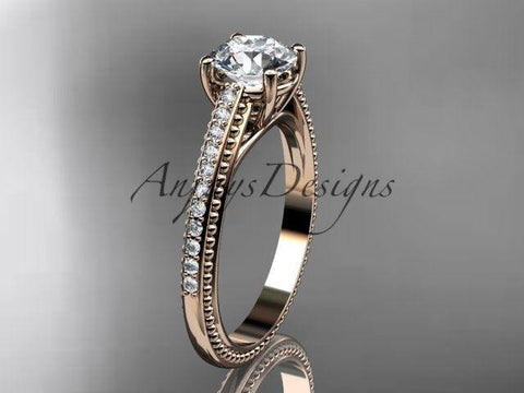 14k rose gold diamond unique engagement ring, wedding ring ADER87