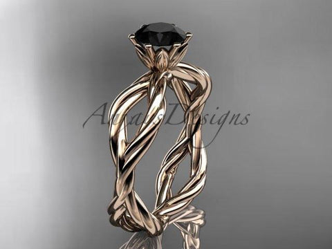 14kt rose gold Black Diamond rope engagement ring RP8100