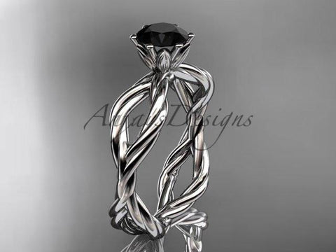 Platinum Black Diamond rope engagement ring RP8100