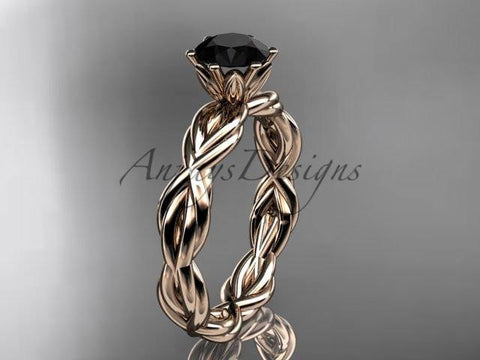 14kt rose gold rope engagement ring with a Black Diamond center stone RP8101
