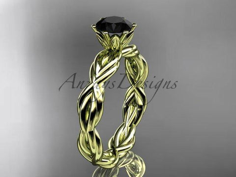 14kt yellow gold rope engagement ring with a Black Diamond center stone RP8101