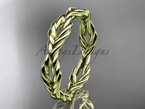 14k yellow gold twisted rope wedding band RP8117G - Vinsiena Designs