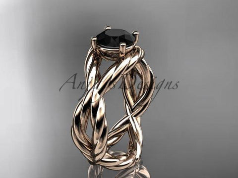14kt rose gold Black Diamond twisted rope engagement ring RP8181 - Vinsiena Designs