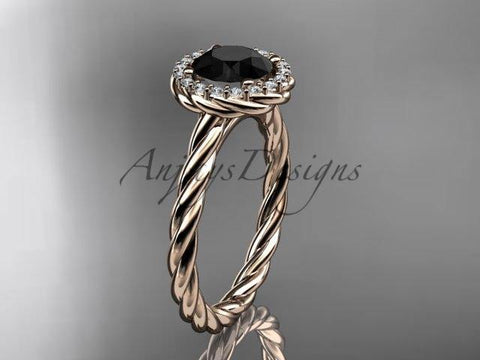 14kt rose gold Black Diamond rope engagement ring RP8197 - Vinsiena Designs