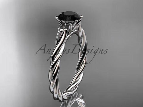 14k white gold rope engagement ring with a Black Diamond center stone RP835