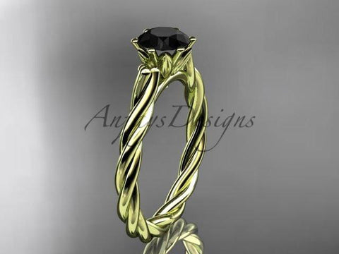 14k yellow gold rope engagement ring with a Black Diamond center stone RP835 - Vinsiena Designs