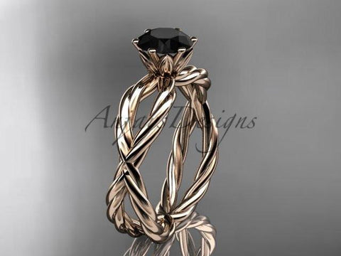 14k rose gold rope engagement ring with a Black Diamond center stone RP870