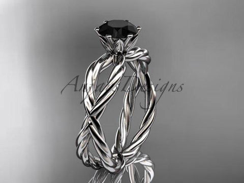 14k white gold rope engagement ring with a Black Diamond center stone RP870