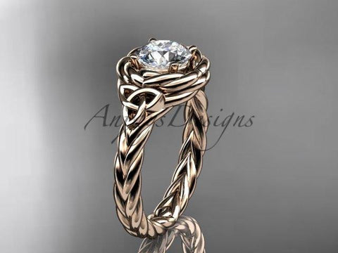 "14kt rose gold celtic nautical engagement ring with a ""Forever One"" Moissanite center stone RPCT9201 - Vinsiena Designs"