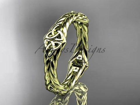 14k yellow gold rope celtic trinity knot wedding band RPCT9356G - Vinsiena Designs