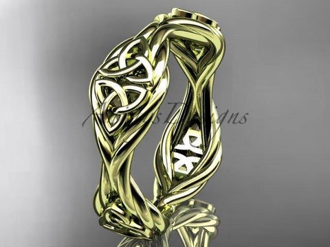14k yellow gold rope celtic trinity knot wedding band RPCT998G - Vinsiena Designs