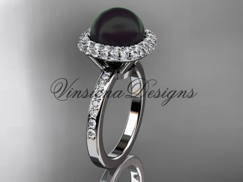 Unique platinum diamond Pearl engagement ring VBP10015 - Vinsiena Designs