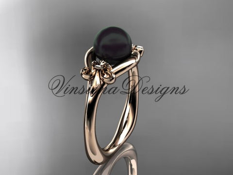 14k rose gold Fleur de Lis, Round Tahitian Black Cultured Pearl engagement ring VBP10022 - Vinsiena Designs