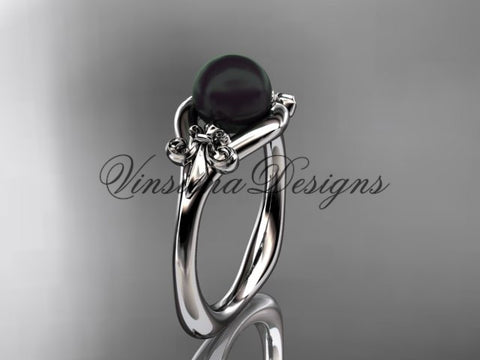 14k white gold Fleur de Lis, Round Tahitian Black Cultured Pearl engagement ring VBP10022