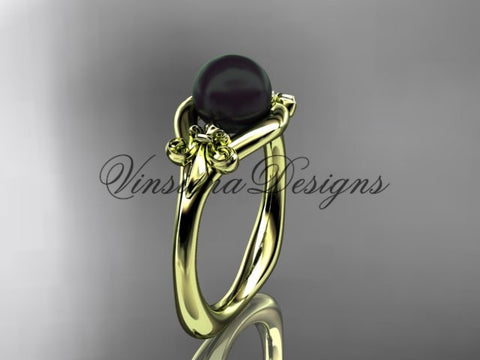 14k yellow gold Fleur de Lis, Round Tahitian Black Cultured Pearl engagement ring VBP10022 - Vinsiena Designs