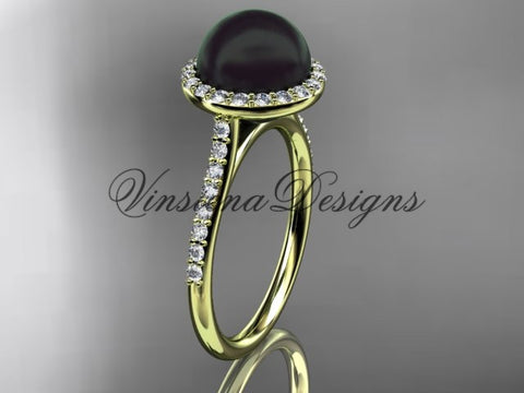 Unique 14kt yellow gold diamond, Round Tahitian Black Cultured Pearl, halo engagement ring VBP10030 - Vinsiena Designs