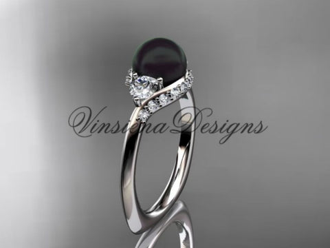 unique platinum diamond Pearl engagement ring VBP8225 - Vinsiena Designs