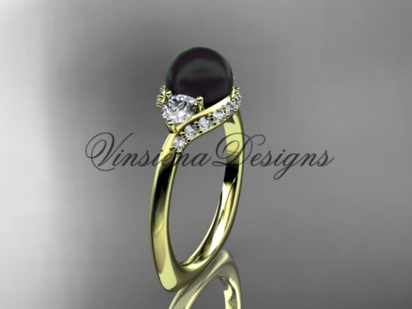 unique 14kt yellow gold diamond Pearl engagement ring VBP8225 - Vinsiena Designs