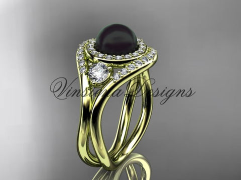 Unique 14kt yellow gold diamond, Pearl engagement ring VBP8245 - Vinsiena Designs