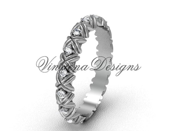 Unique 14k white gold diamond wedding band VD10012 - Vinsiena Designs