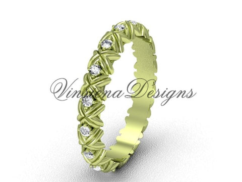 Unique 14kt yellow gold diamond wedding band VD10012 - Vinsiena Designs