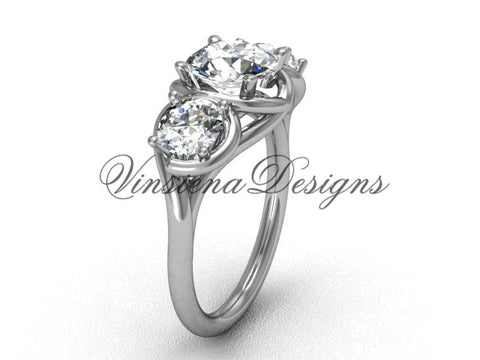 "Platinum Three stone engagement ring, ""Forever One"" Moissanite VD10014 - Vinsiena Designs"