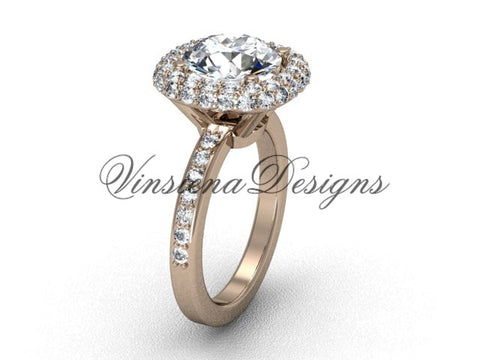 "Unique 14kt rose gold diamond engagement ring, ""Forever One"" Moissanite VD10015 - Vinsiena Designs"