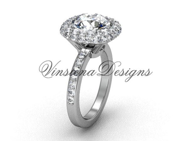 "Unique Platinum diamond engagement ring, ""Forever One"" Moissanite VD10015 - Vinsiena Designs"
