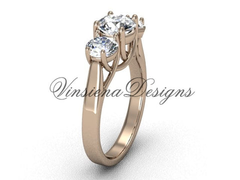 "14kt rose gold Three stone engagement ring, ""Forever One"" Moissanite VD10019"