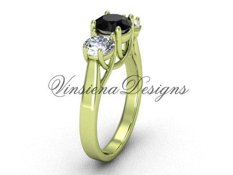 14kt yellow gold Three stone engagement ring, Black Diamond VD10019 - Vinsiena Designs