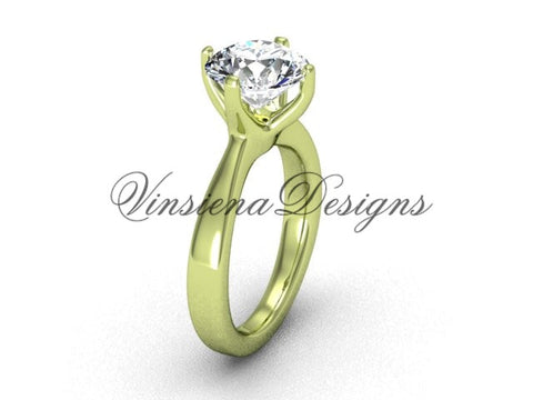 "14k yellow gold engagement ring,wedding ring ""Forever One"" Moissanite VD10020 - Vinsiena Designs"