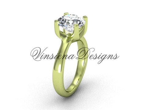 "14k yellow gold engagement ring, ""Forever One"" Moissanite VD10021 - Vinsiena Designs"