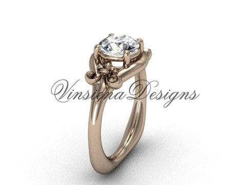 "14kt rose gold Fleur de Lis engagement ring, ""Forever One"" Moissanite VD10022"