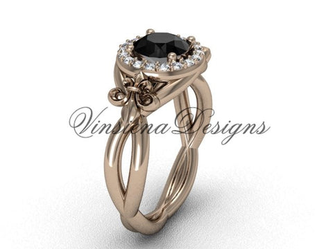 14kt rose gold diamond Fleur de Lis engagement ring, Black Diamond VD10023