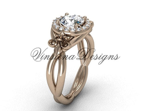 "14kt rose gold diamond Fleur de Lis engagement ring, ""Forever One"" Moissanite VD10023"