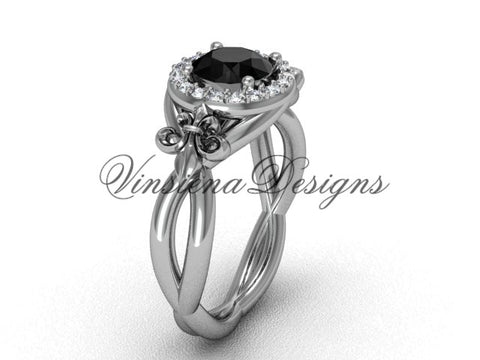 14kt white gold diamond Fleur de Lis engagement ring, Black Diamond VD10023 - Vinsiena Designs