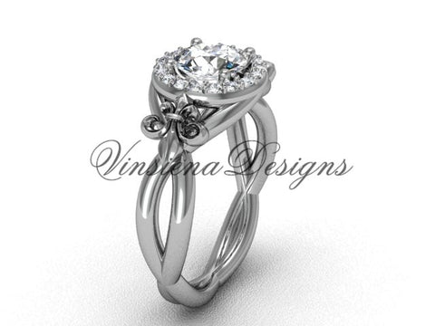 "14kt white gold diamond Fleur de Lis engagement ring, ""Forever One"" Moissanite VD10023"