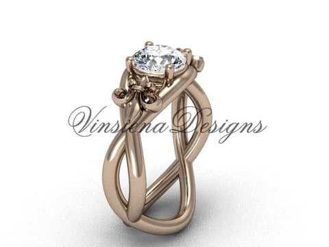 "14kt rose gold Fleur de Lis engagement ring, ""Forever One"" Moissanite VD10024"