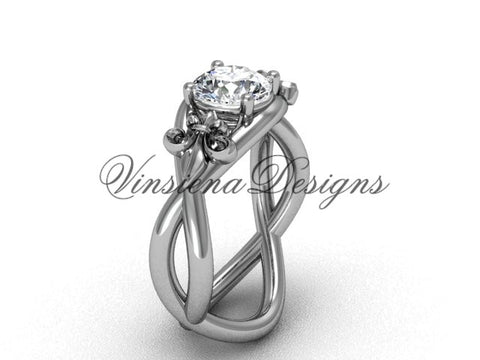 14kt white gold Fleur de Lis engagement ring VD10024