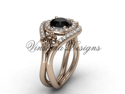 14kt rose gold diamond Fleur de Lis wedding ring, engagement ring, Black Diamond VD10025