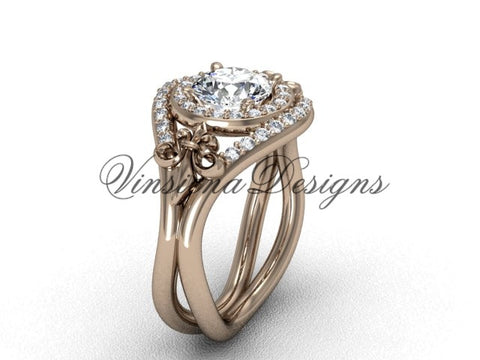 "14kt rose gold diamond Fleur de Lis wedding ring, engagement ring, ""Forever One"" Moissanite VD10025"